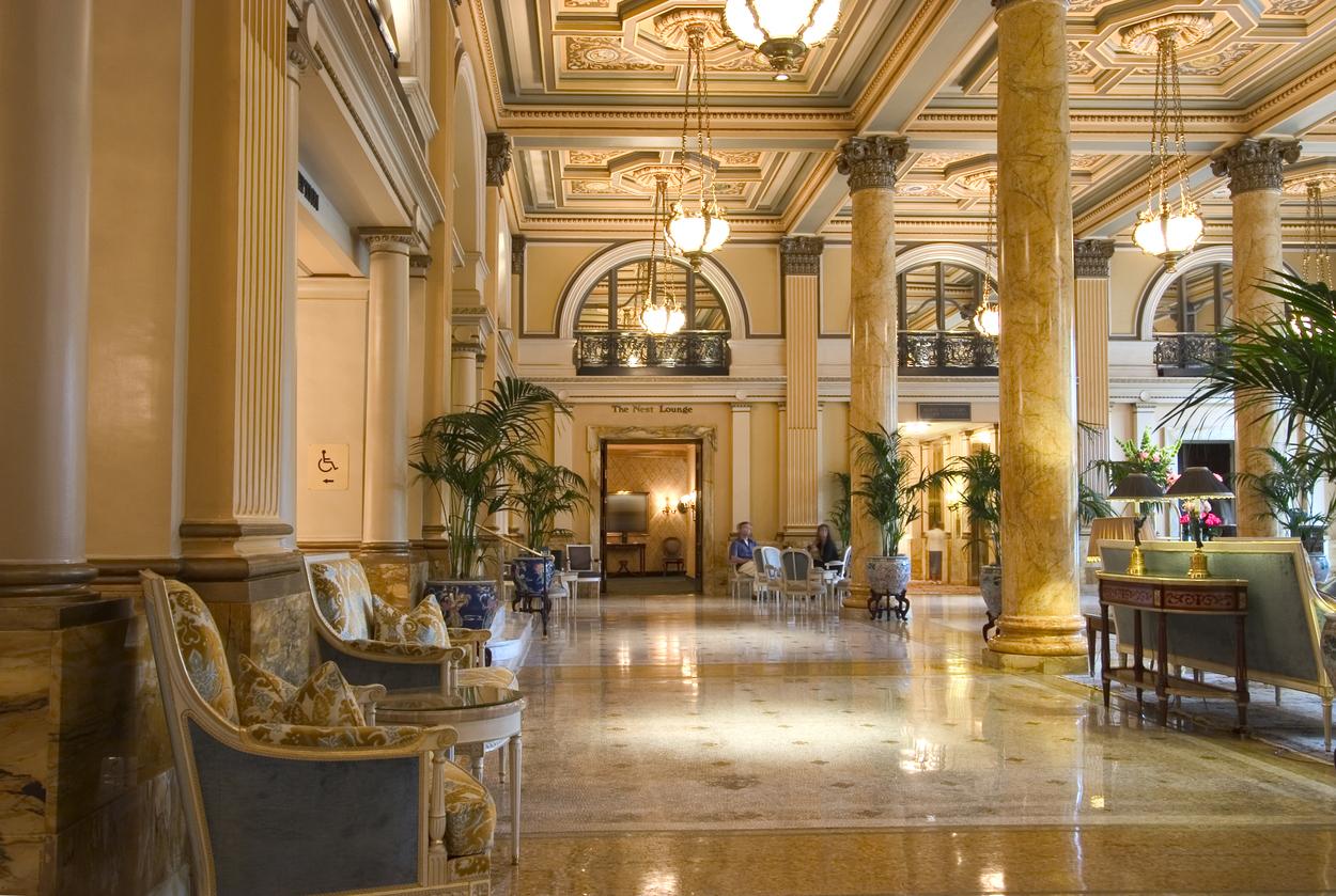 Entrance lobby of a luxurious hotel